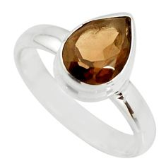 2.44cts brown smoky topaz 925 sterling silver solitaire ring size 7 r26364