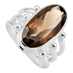 8.27cts brown smoky topaz 925 sterling silver solitaire ring size 7 r55995