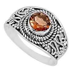 1.21cts brown smoky topaz 925 sterling silver solitaire ring size 7 r57982