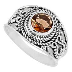1.21cts brown smoky topaz 925 sterling silver solitaire ring size 7 r57987