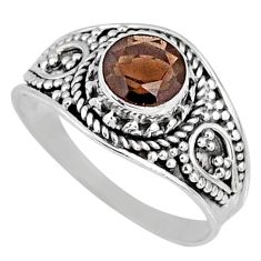 1.24cts brown smoky topaz 925 sterling silver solitaire ring size 7 r58578