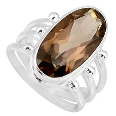 9.41cts brown smoky topaz 925 sterling silver solitaire ring size 7 r58670