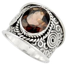 5.38cts brown smoky topaz 925 sterling silver solitaire ring size 8 d45906