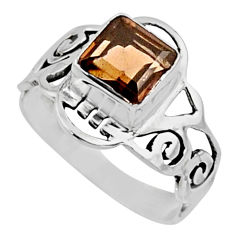 2.72cts brown smoky topaz 925 sterling silver solitaire ring size 8 r54427
