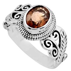 2.23cts brown smoky topaz 925 sterling silver solitaire ring size 8 r54469