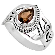 2.35cts brown smoky topaz 925 sterling silver solitaire ring size 8 r54643