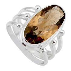 8.27cts brown smoky topaz 925 sterling silver solitaire ring size 8 r55999