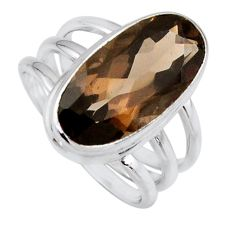 7.72cts brown smoky topaz 925 sterling silver solitaire ring size 8 r56000