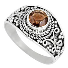 1.36cts brown smoky topaz 925 sterling silver solitaire ring size 8 r58575