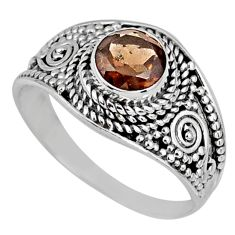1.36cts brown smoky topaz 925 sterling silver solitaire ring size 8 r58579