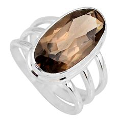 8.11cts brown smoky topaz 925 sterling silver solitaire ring size 8 r58672