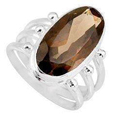 8.96cts brown smoky topaz 925 sterling silver solitaire ring size 8 r58674