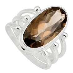 8.96cts brown smoky topaz 925 sterling silver solitaire ring size 8 r58675