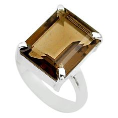 10.21cts brown smoky topaz 925 sterling silver solitaire ring size 8.5 t54576