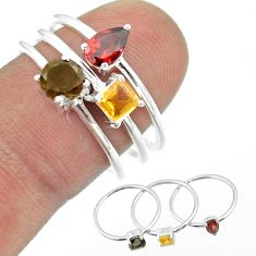 2.98cts brown smoky topaz citrine red garnet 925 silver 3 rings size 8 t51017