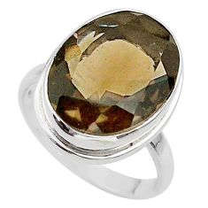 10.03cts brown smoky topaz oval 925 sterling silver ring jewelry size 7 t33947