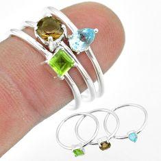 2.98cts brown smoky topaz peridot topaz 925 silver 3 rings jewelry size 8 t51071