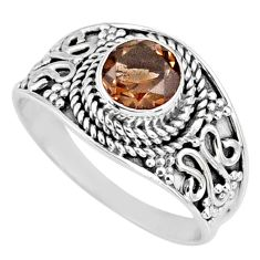 1.36cts brown smoky topaz round 925 silver solitaire ring size 7.5 r58584
