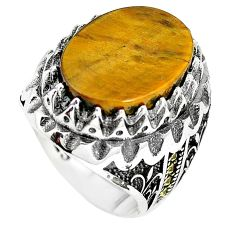 Brown tigers eye oval shape 925 sterling silver mens ring size 9 c11428