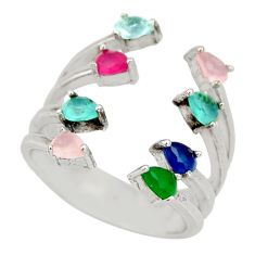 4.67cts chalcedony emerald (lab) silver adjustable ring size 6.5 c9125