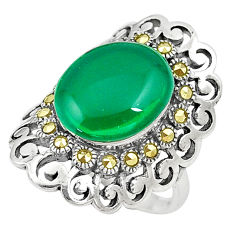 7.85cts chalcedony marcasite 925 silver solitaire ring jewelry size 7.5 c17493