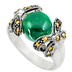 5.53cts chalcedony marcasite 925 silver solitaire ring jewelry size 8.5 c17328