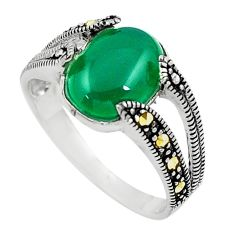 5.06cts chalcedony marcasite 925 silver solitaire ring jewelry size 9 c17477