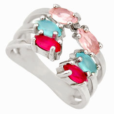 2.98cts chalcedony ruby (lab) 925 silver adjustable ring size 5.5 c9162