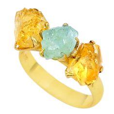 8.62cts citrine aqua aquamarine raw 14k gold handmade ring size 8 t35005