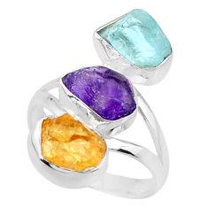 12.52cts citrine aquamarine amethyst raw 925 silver ring size 8.5 r73741