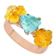 8.49cts citrine aquamarine raw 14k rose gold handmade ring size 8 t34934