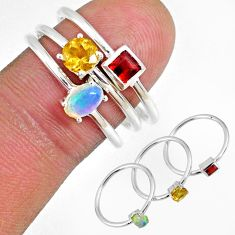 2.24cts citrine ethiopian opal garnet 925 silver 3 stackable ring size 8 r59935