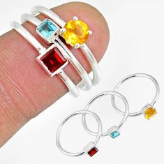 2.35cts citrine garnet blue topaz 925 silver 3 stackable ring size 6.5 r59906