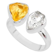 8.73cts citrine raw herkimer diamond 925 silver adjustable ring size 8 t9886