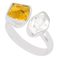 8.73cts citrine raw herkimer diamond 925 silver adjustable ring size 7.5 t9896