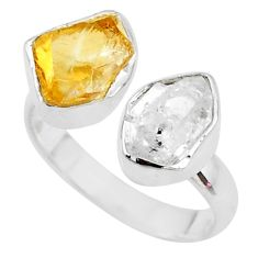 9.18cts citrine raw herkimer diamond 925 silver adjustable ring size 7.5 t9904