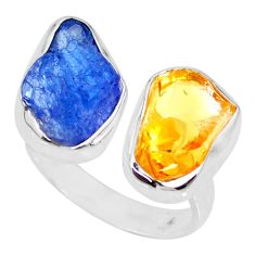 12.06cts citrine raw tanzanite rough silver adjustable ring size 8 r73963