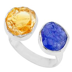 12.03cts citrine raw tanzanite rough silver adjustable ring size 8 r73968