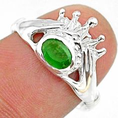 1.07cts claddagh evil eye natural green emerald 925 silver ring size 8 t36576