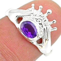 1.06cts claddagh evil eye natural purple amethyst 925 silver ring size 7 t36561
