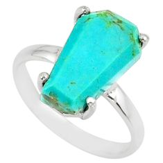 4.88cts coffin arizona mohave turquoise 925 silver solitaire ring size 7 r81789