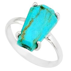 4.86cts coffin arizona mohave turquoise 925 silver solitaire ring size 8 r81842