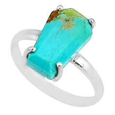 5.13cts coffin arizona mohave turquoise 925 silver solitaire ring size 9 r81761