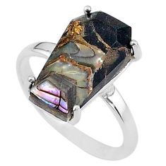 7.24cts coffin natural black celtic septrian opal 925 silver ring size 9 t17355