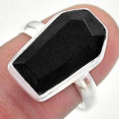 6.51cts coffin natural black onyx 925 silver solitaire ring size 8 t48398