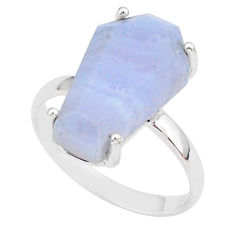 5.92cts coffin natural blue lace agate 925 silver solitaire ring size 7 r93613