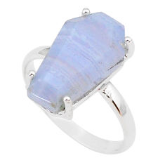 5.54cts coffin natural blue lace agate 925 silver solitaire ring size 8 r93616