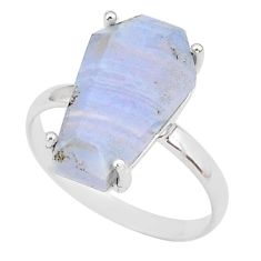 5.13cts coffin natural blue lace agate 925 silver solitaire ring size 8 r93617