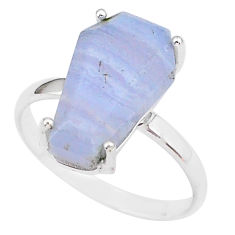 5.54cts coffin natural blue lace agate 925 silver solitaire ring size 9 r93615