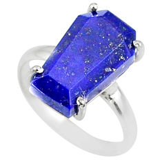 5.54cts coffin natural blue lapis lazuli 925 silver solitaire ring size 6 r81798